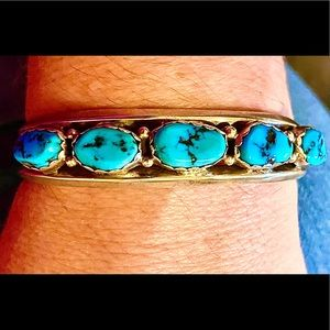 Vintage Old Pawn Navajo Turquoise 5 Stone 925 Cuff